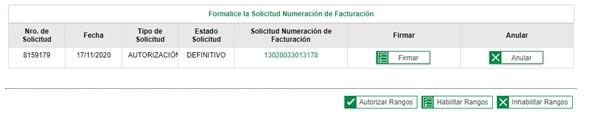 Autorización numeración de facturación