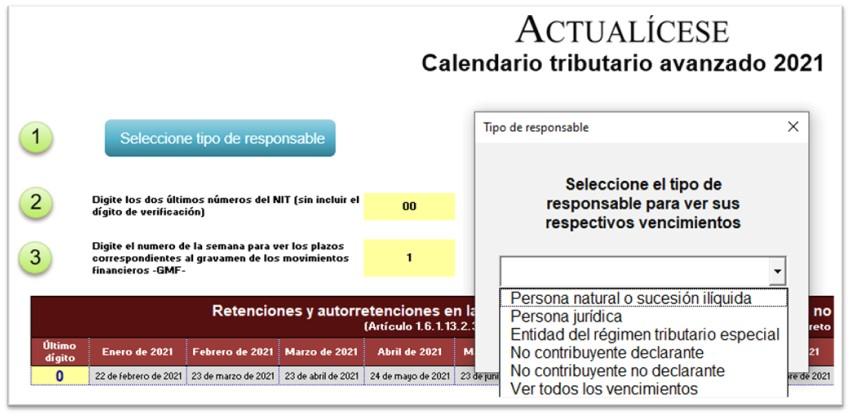 Calendario tributario 2021 – automatizado en Excel