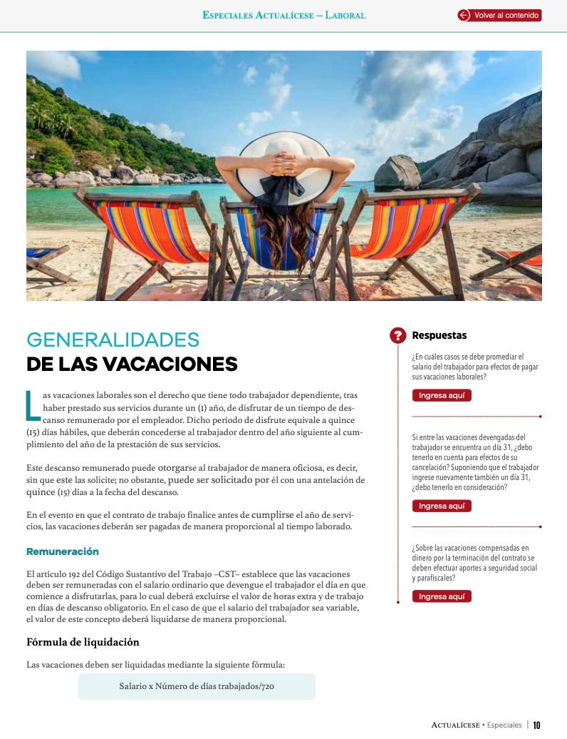 Aspectos generales de las vacaciones laborales