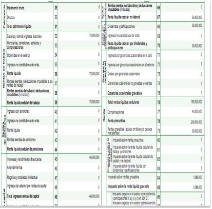 Formulario 210 cedulado por fracción de año 2017 del Muisca no calcula automáticamente los impuestos