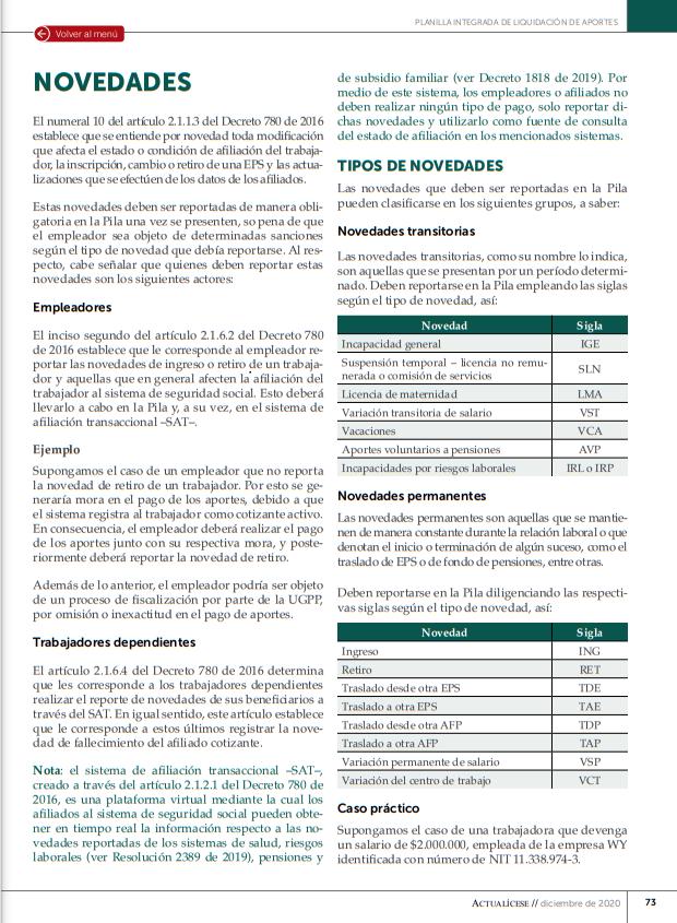 Planilla integrada de liquidación de aportes: importancia del reporte de novedades