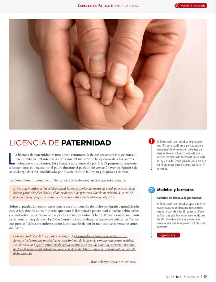 Licencia de paternidad podrá ser ampliada por más de dos semanas