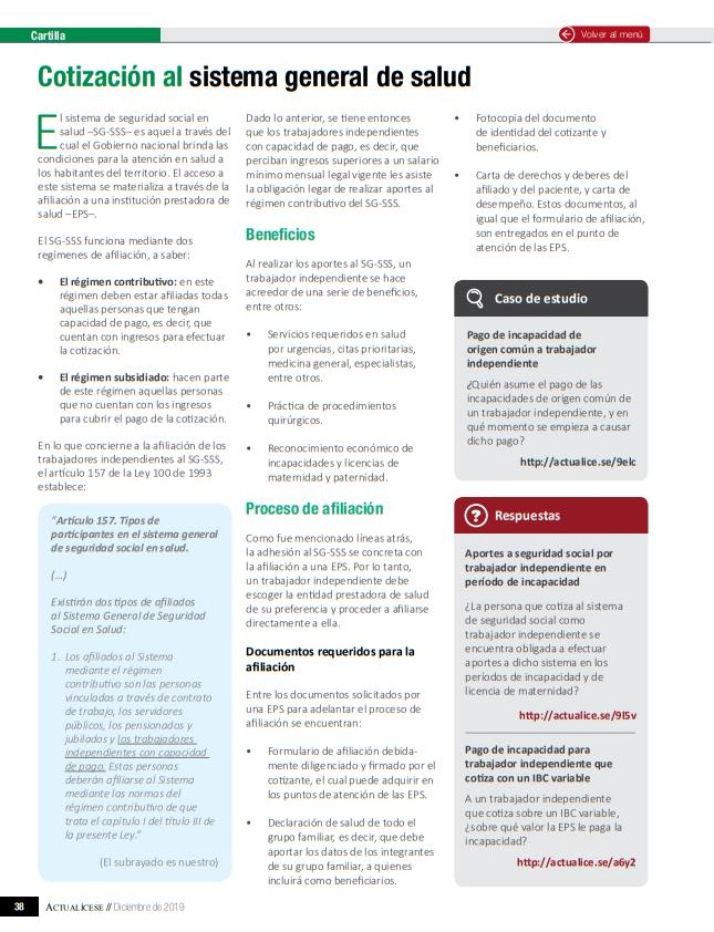 Cotización al sistema de salud por trabajadores independientes