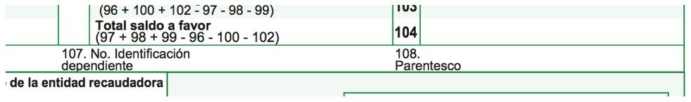 Omisión de datos del dependiente en formulario 210 no genera consecuencias para el contribuyente