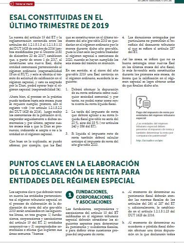 Aspectos a considerar en la declaración de renta de personas jurídicas del RTE por el AG 2019