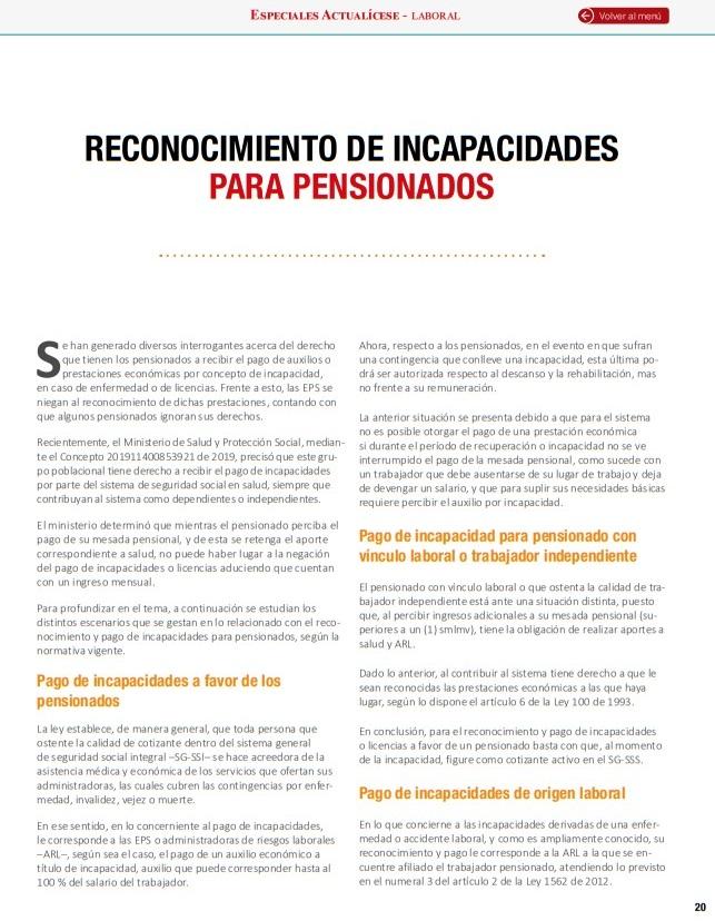 Reconocimiento y pago de incapacidades para pensionados en Colombia