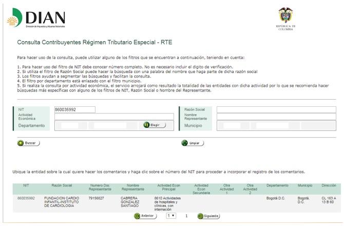 Dian habilitó zona web para comentarios sobre entidades del régimen tributario especial