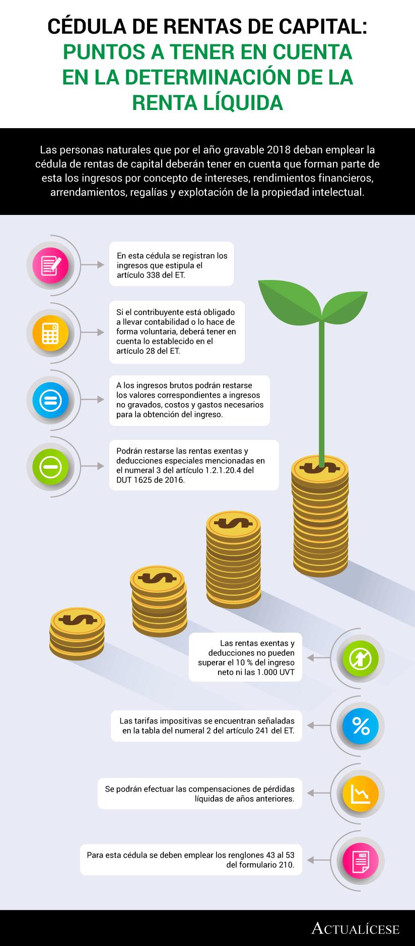 [Infografía] Cédula de rentas de capital: puntos a tener en cuenta en la determinación de la renta líquida