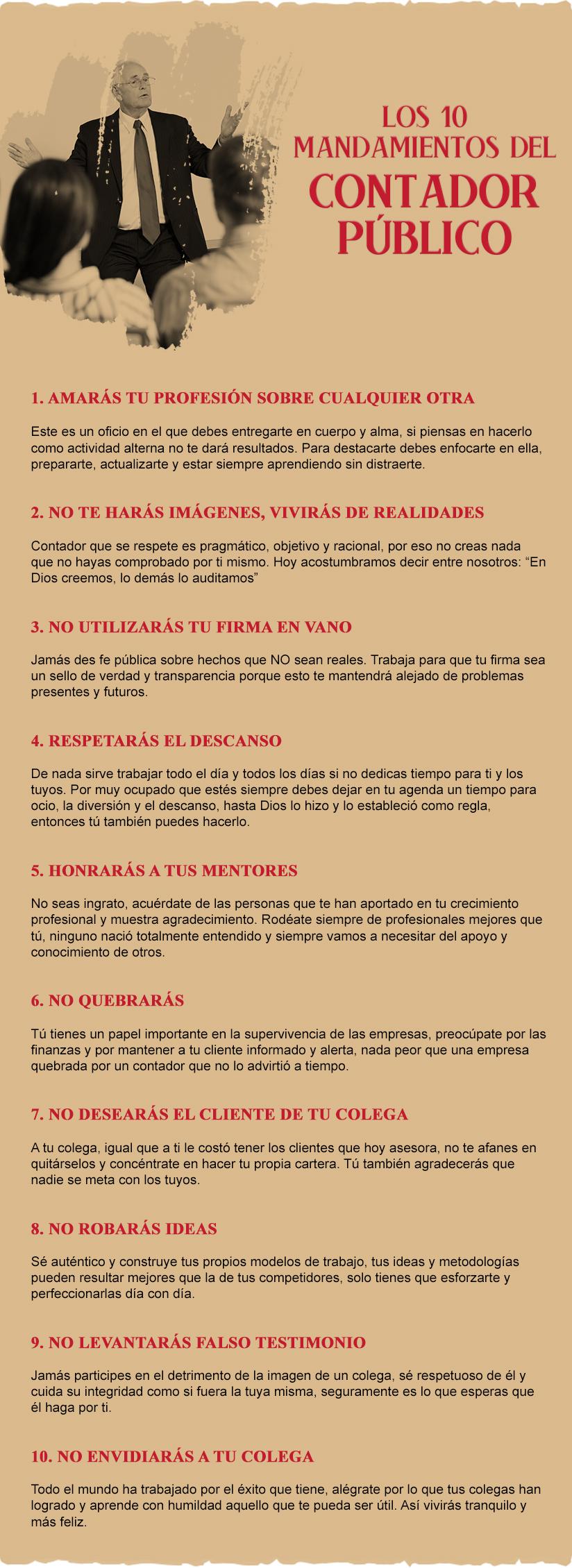 [Infografía] Los 10 mandamientos del Contador Público