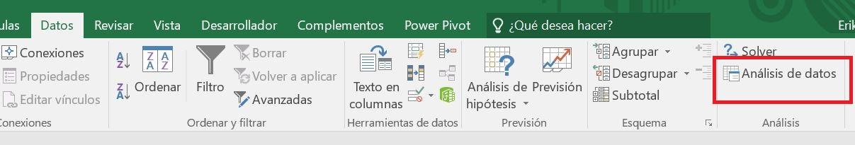 análisis de datos de Excel