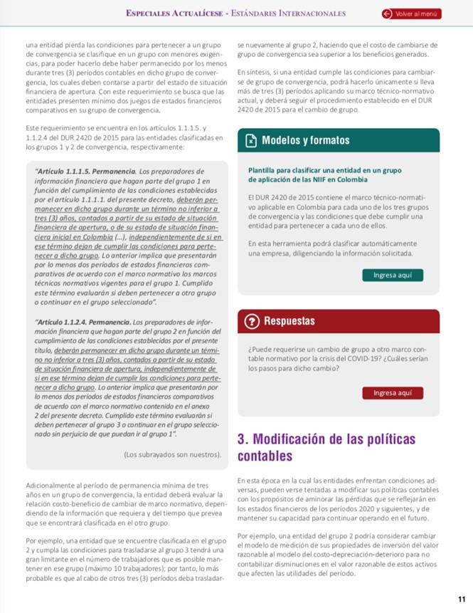 cambio de políticas contables por COVID-19