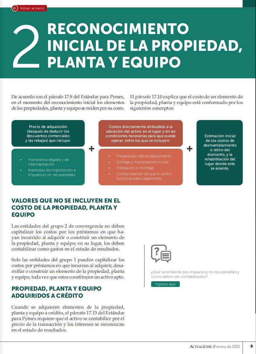 Normativa y medición de la propiedad, planta y equipo