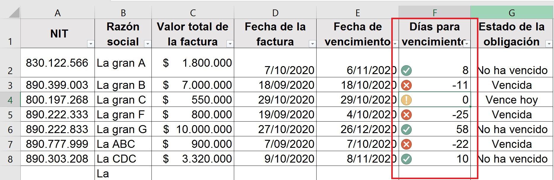 Control de cuentas por pagar en Excel