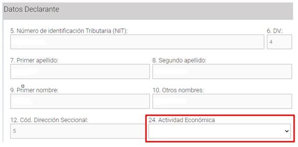 diligenciamiento de los datos del declarante en el formulario 210