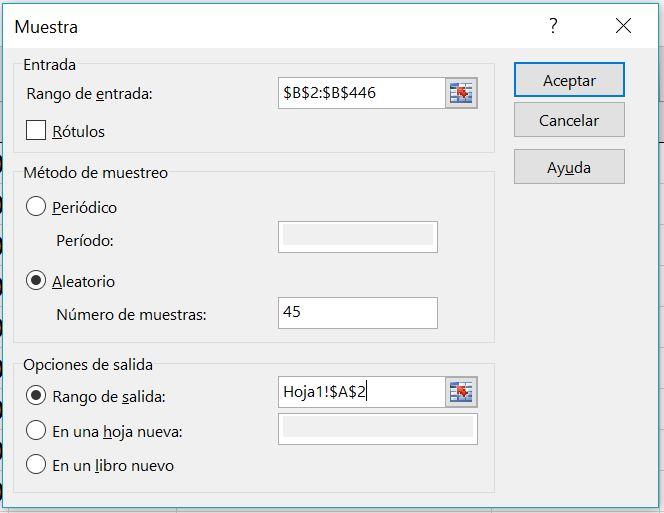 extraer muestra de auditoría en Excel