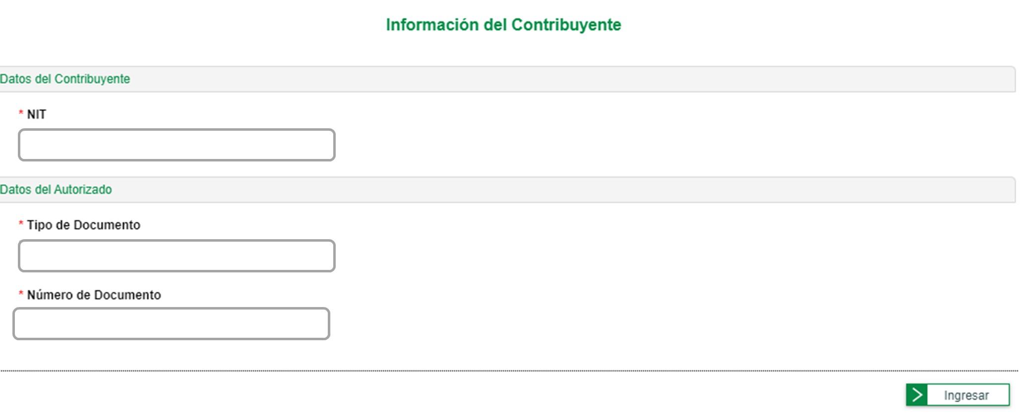 información del contribuyente para solicitud de numeración