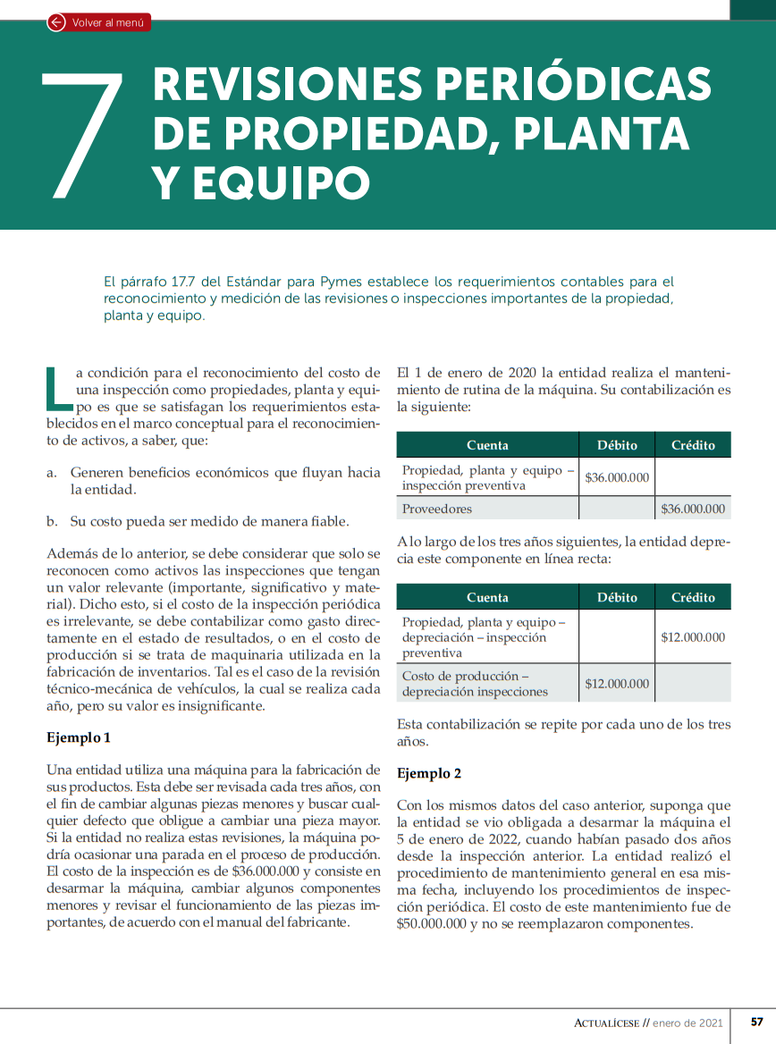 Inspecciones propiedades, planta y equipo