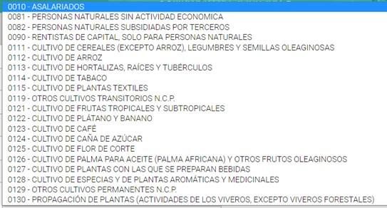 listado de actividades económicas en el formulario 210