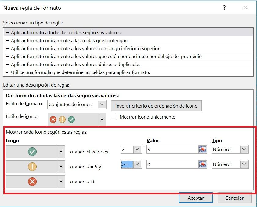 inserción de marcas con íconos en Excel