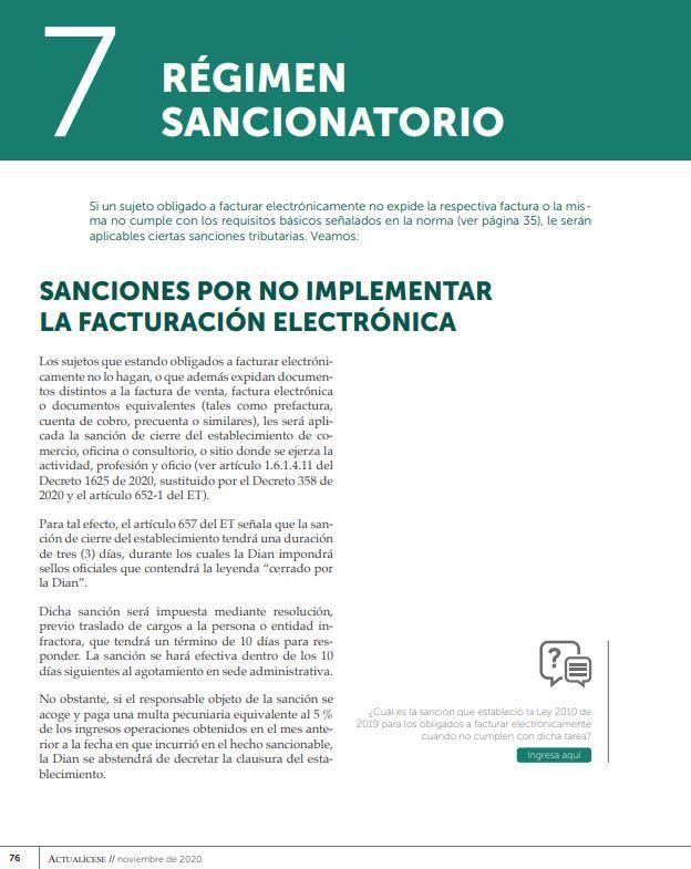 régimen sancionatorio de la facturación electrónica