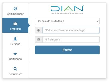 acceso al sistema de facturación electrónica Dian