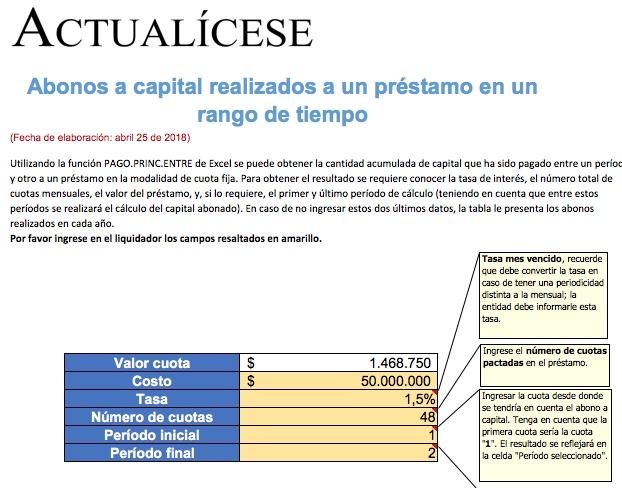 [Liquidador] Abonos a capital realizados a un préstamo en un rango de tiempo