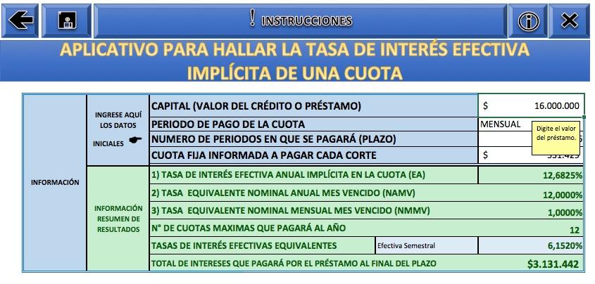 [Liquidador] Cálculo de tasa de interés efectiva implícita en una cuota