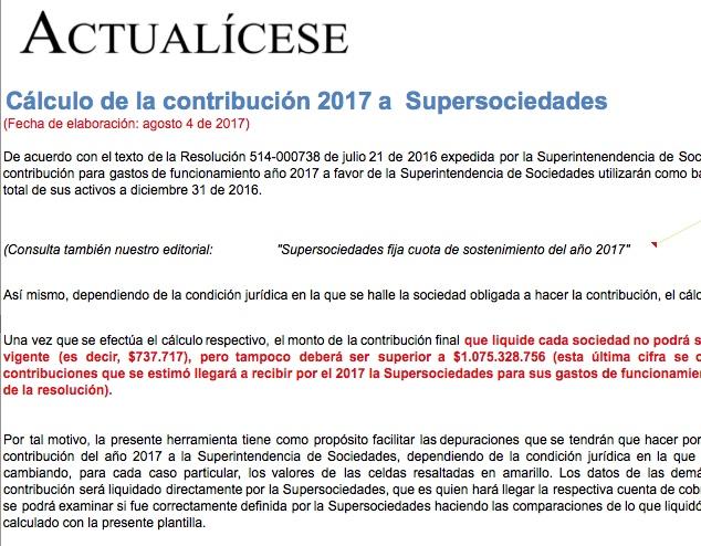 [Liquidador] Cálculo de la contribución 2017 a la Supersociedades