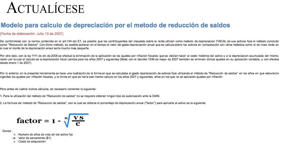 Modelo para cálculo de depreciación por el método de reducción de saldos