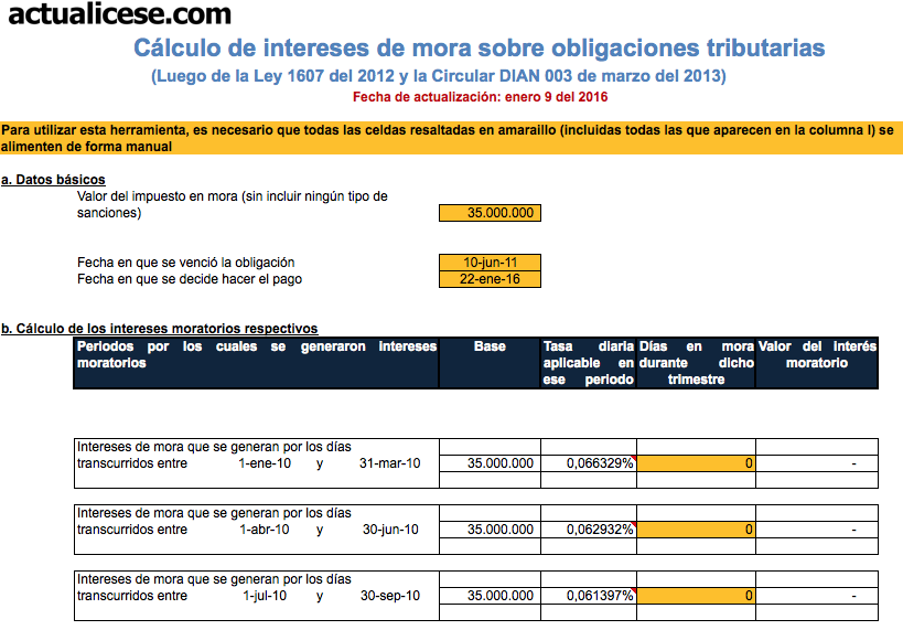 Cálculo de intereses de mora sobre obligaciones tributarias