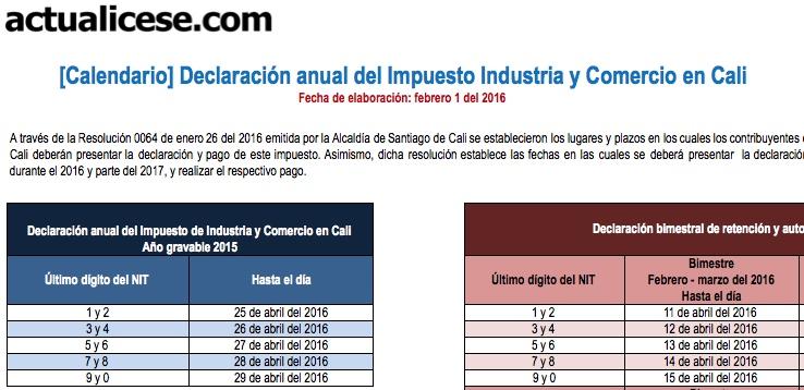 [Calendario] Declaración anual del Impuesto de Industria y Comercio en Cali