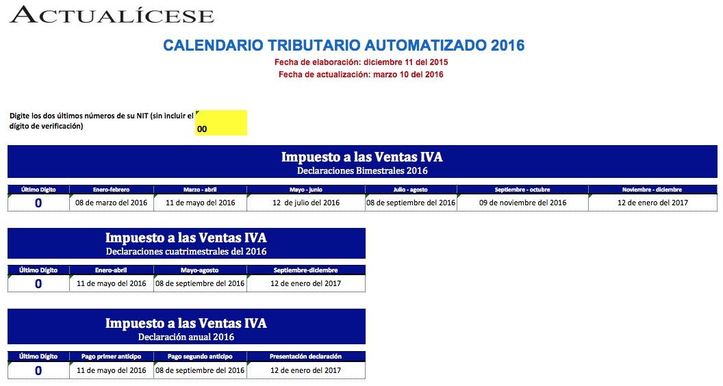 [Calendario] Calendario tributario automatizado para el 2016
