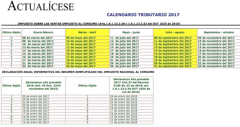 ORO] Calendario Tributario 2017 automatizado