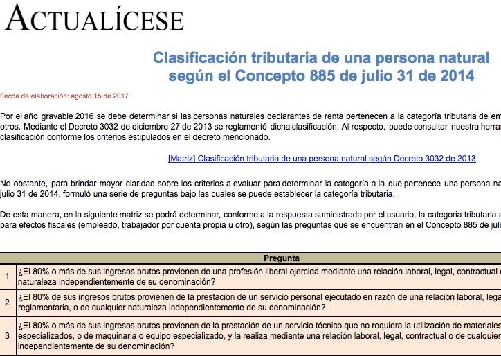[Matriz] Clasificación tributaria de una persona natural según el Concepto 885 de julio 31 de 2014