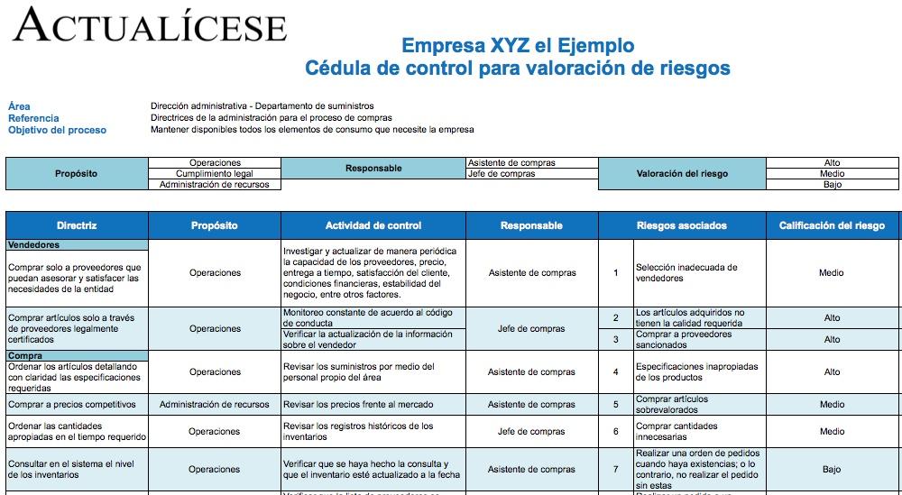 [Formato] Cédula de control para valoración de riesgos en compras