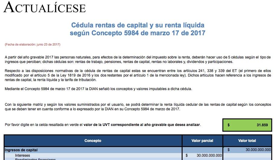 [Matriz] Cédula rentas de capital y su renta líquida según Concepto 5984 de marzo 17 de 2017