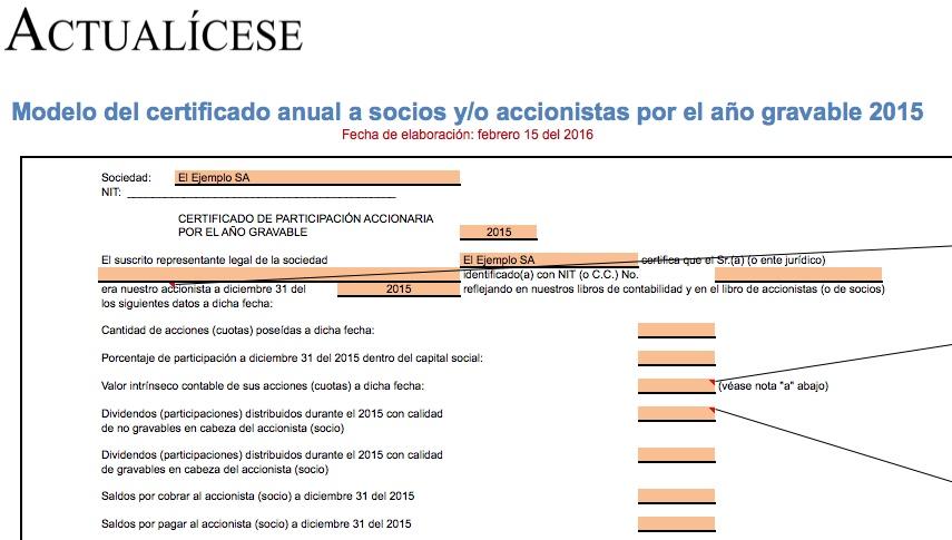 [Certificado] Modelo del certificado anual a socios y/o accionistas por el año gravable 2015