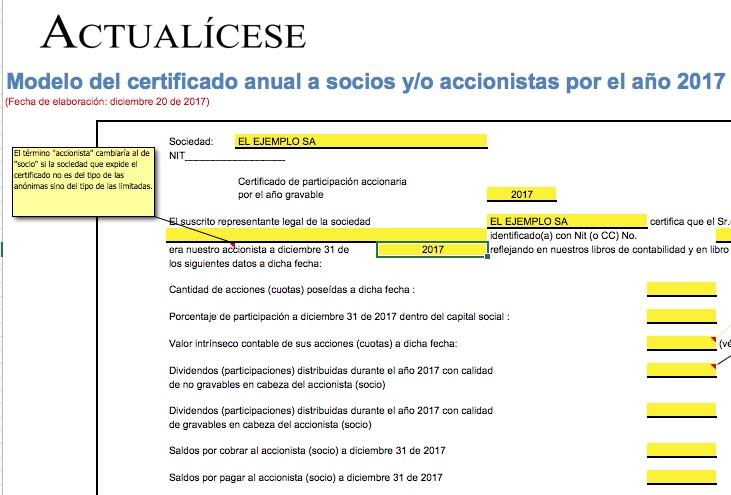Super Modelo del certificado anual a socios y/o accionistas CJ96
