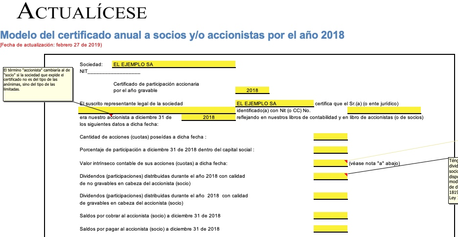 [Guía] Modelo del certificado anual a socios o accionistas por el año 2018