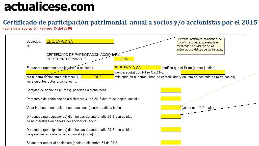 [Certificado] Participación patrimonial anual a socios y/o accionistas por el 2015