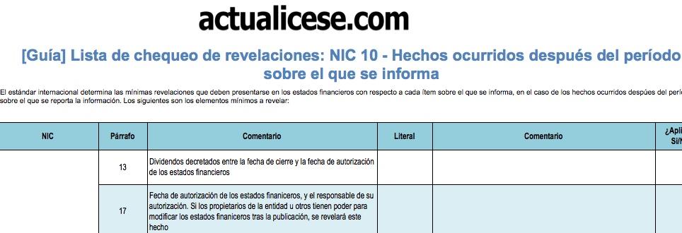 [Guía] Lista de chequeo de revelaciones: NIC 10 – Hechos ocurridos después del período sobre el que se informa