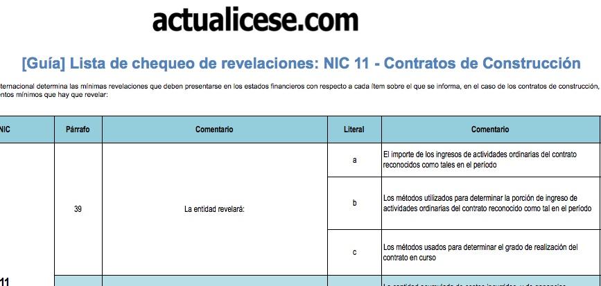 [Guía] Lista de chequeo de revelaciones: NIC 11 – Contratos de Construcción