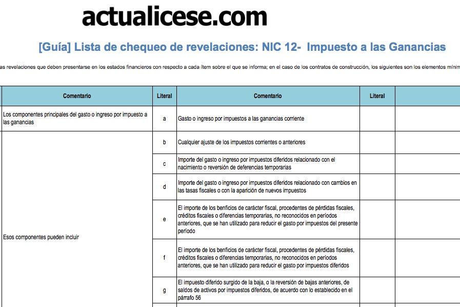 [Guía] Lista de chequeo de revelaciones: NIC 12 – Impuesto a las Ganancias