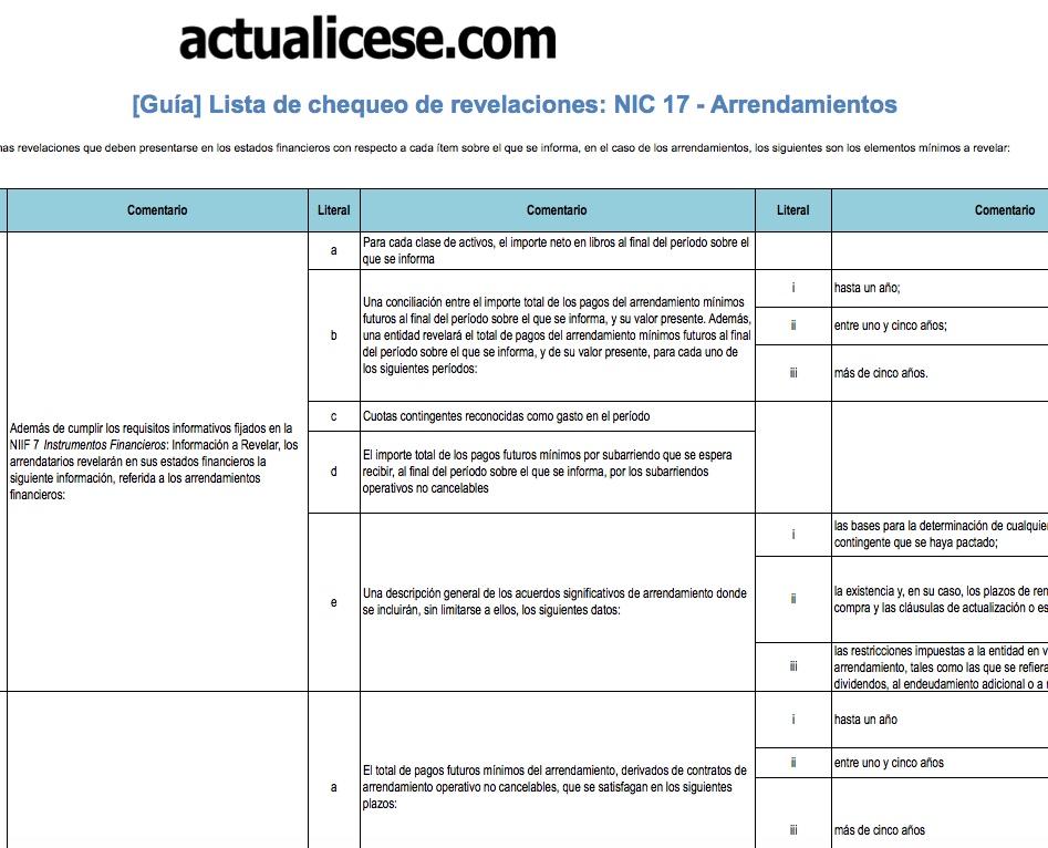 [Guía] Lista de chequeo de revelaciones: NIC 17 – Arrendamientos