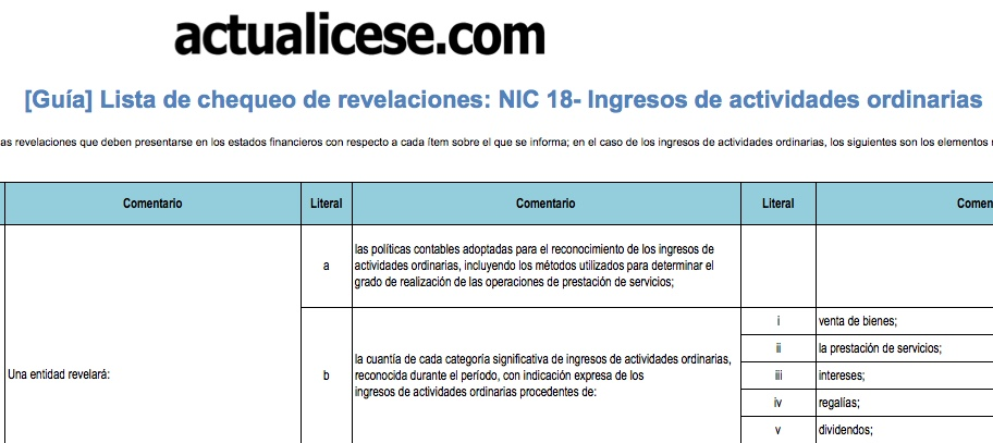 Lista de chequeo de revelaciones: NIC 18 – Ingresos de actividades ordinarias