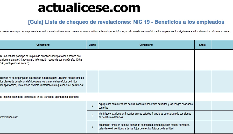 [Guía] Lista de chequeo de revelaciones: NIC 19 -Beneficios a los empleados