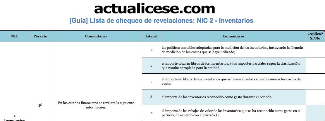 [Guía] Revelaciones exigidas por la NIC 2: lista de chequeo