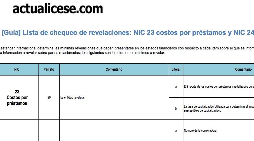 [Guía] Lista de chequeo de revelaciones: NIC 23 costos por préstamos y NIC 24 partes relacionadas