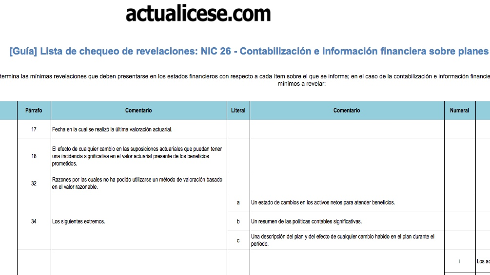 [Guía] Lista de chequeo de revelaciones: NIC 26 − Planes de beneficio por retiro