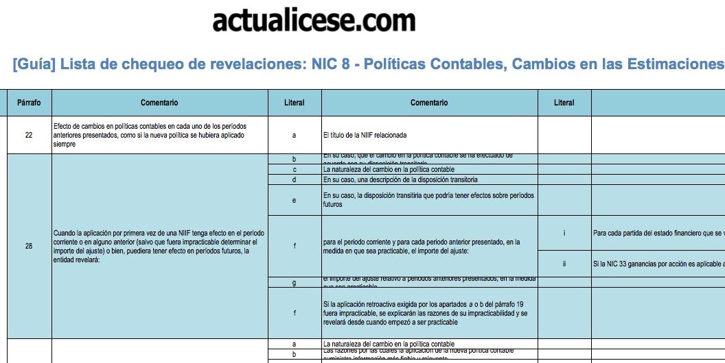[Guía] Revelaciones exigidas por la NIC 8 – Políticas Contables, Cambios en las Estimaciones Contables y Errores